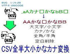 CSV全半角大小かなカナ変換ロゴ