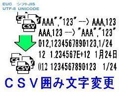 CSVファイル囲み文字変更