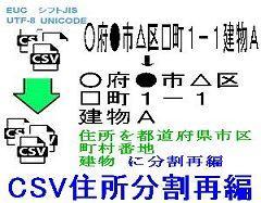 CSV住所分割再編