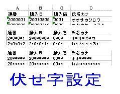 Excelブックの伏せ字設定